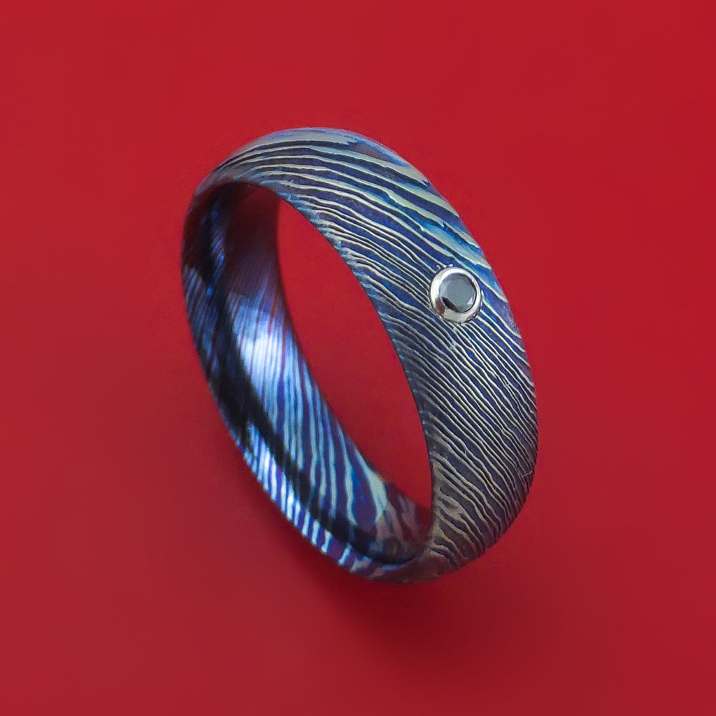Kuro-Ti Twisted Titanium Etched and Heat-Treated Ring with Black Diamond Custom Made Band