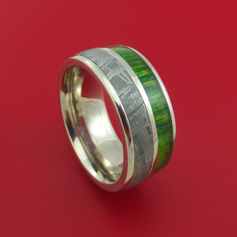 14k White Gold Ring with Gibeon Meteorite and Jade Wood Inlays Custom Made