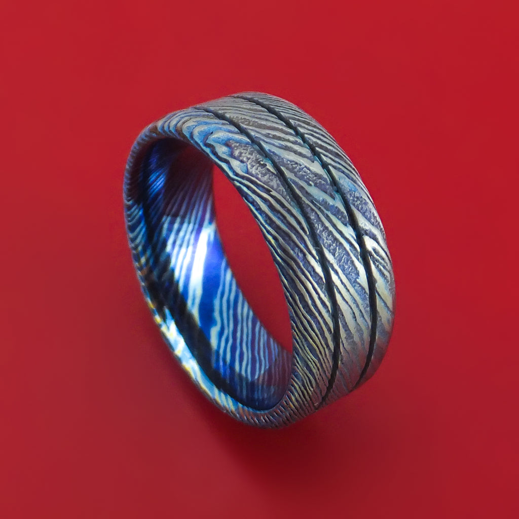 Kuro-Ti Twisted Titanium Etched and Heat-Treated Ring with Grooves Custom Made Band