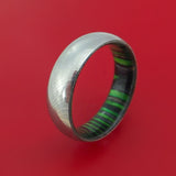 Damascus Steel Ring with Midnight Green Wood Hardwood Interior Sleeve Custom Made