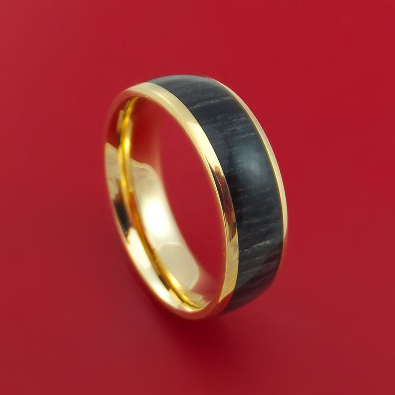 14k Yellow Gold Ring with Hardwood Inlay Custom Made Band