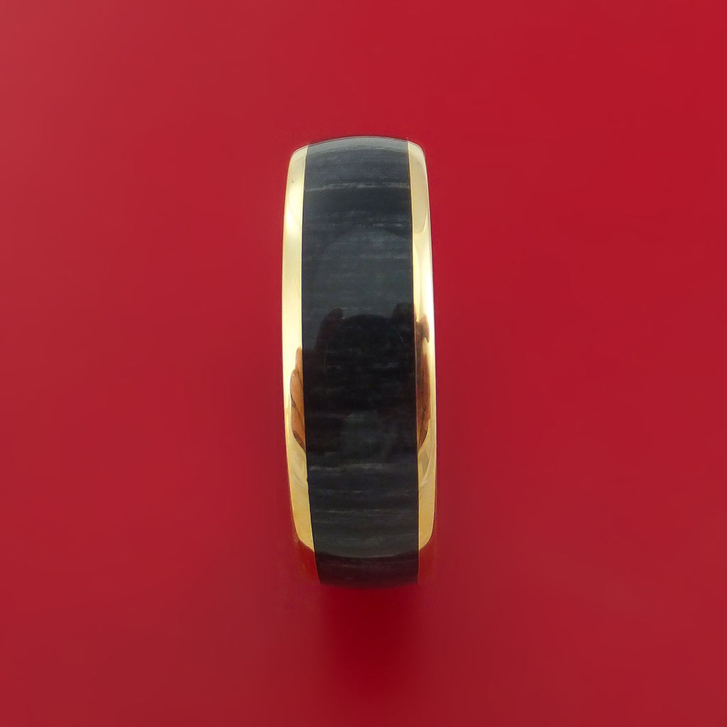 14k Yellow Gold Ring with Charcoal Wood Inlay Custom Made Band