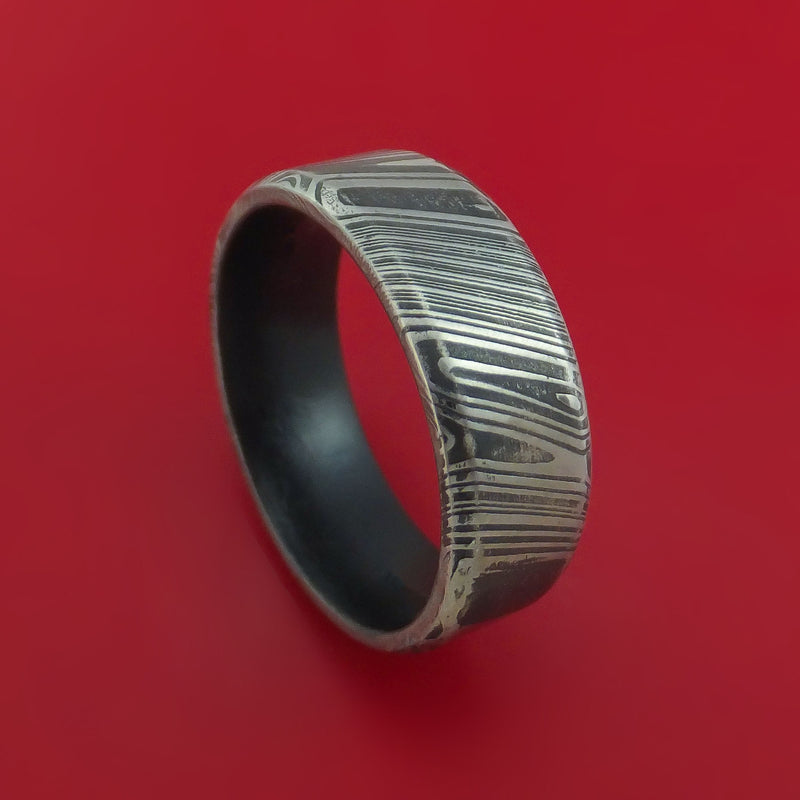 Kuro Damascus Steel Ring with Interior Cerakote Sleeve Custom Made Band