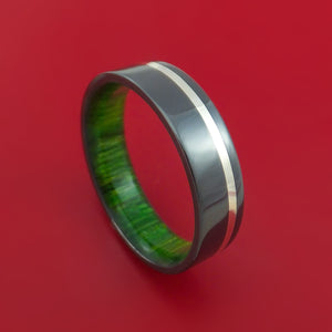 Black Zirconium Ring with Sterling Silver Inlay and Interior Hardwood Sleeve Custom Made Band