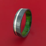 Black Zirconium Ring with Silver Inlay and Jade Wood Sleeve Made to Any Sizing and Finish