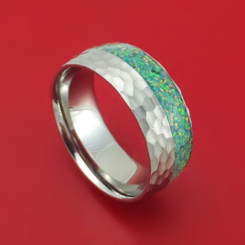 Hammered Titanium and Opal Ring Choose Your Color Custom Made
