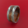 Wide Kuro Damascus Steel Ring with Hardwood Inlay and Interior Hardwood Sleeve Custom Made Band