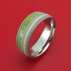 Titanium with 14K Gold and Opal Ring Choose Your Color Custom Made