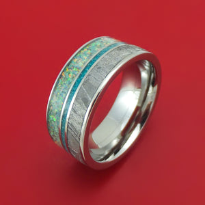 Titanium Opal And Gibeon Meteorite Ring With Turquoise Inlay Custom Made Band