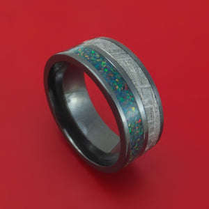Black Zirconium with Gibeon Meteorite and Opal Ring Custom Made Band