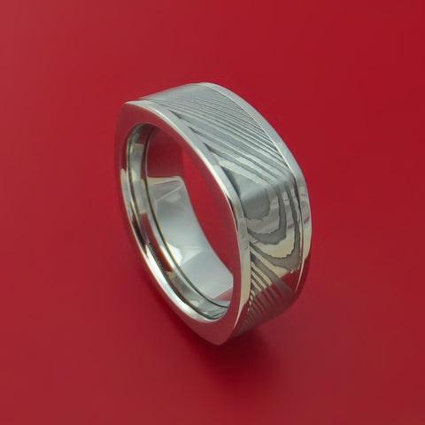 Damascus Steel in Cobalt Chrome Square Wedding Band Custom Made