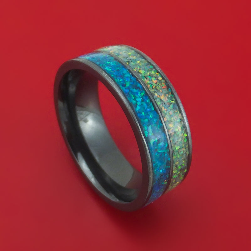 Black Zirconium And Opal Ring Custom Made Band