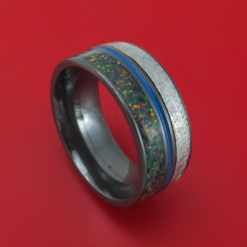 Black Zirconium Gibeon Meteorite and Opal Ring with Cerakote Custom Made Band