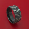 Black Zirconium Ring with Tractor Tire Tread Pattern Inlay Custom Made Band
