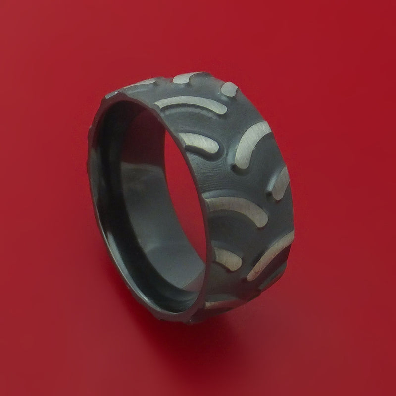 Black Zirconium Tractor Tire Tread Ring Custom Made Band