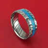 Kuro Damascus Steel Rock Hammer Finish Opal Ring