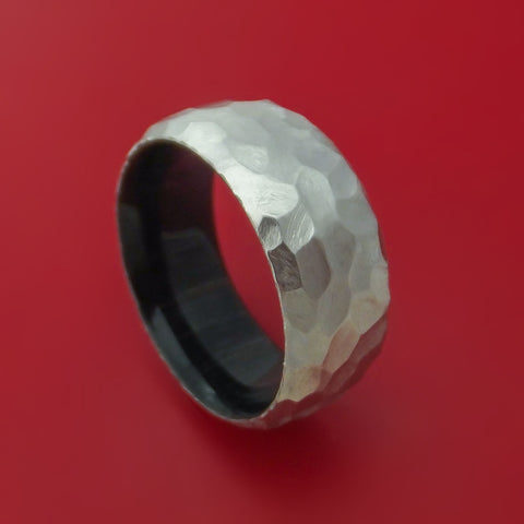 Cobalt Chrome and Charcoal Wood Sleeve Ring Rock Hammer Finish Custom Made Band