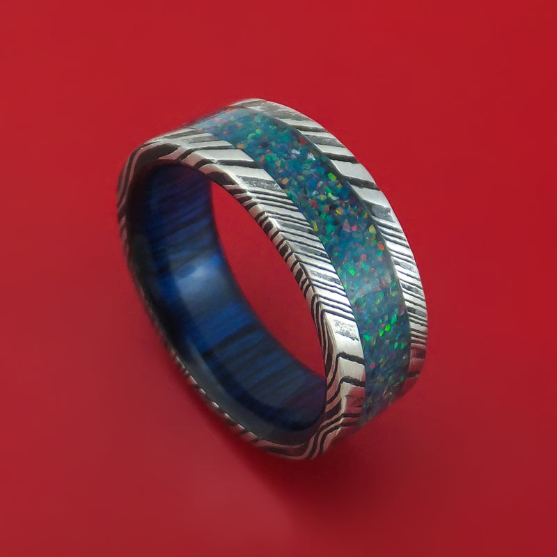 Kuro Damascus Steel Opal Ring with Wood Sleeve Custom Made