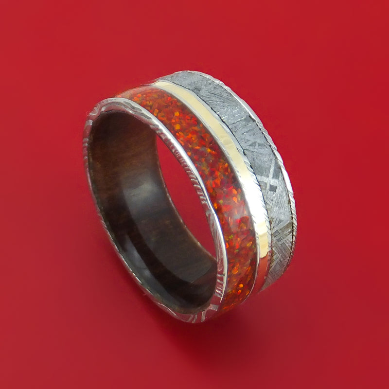 Damascus Steel Hardwood and Meteorite Ring with Opal and Gold Custom Made Band
