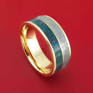14K Gold and Meteorite Ring with Opal Custom Made Band