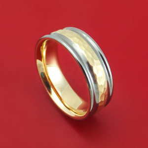 Tantalum Ring with Hammered 14K Gold Inlay and 14K Gold Sleeve