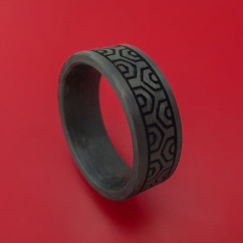 Solid Carbon Fiber Ring Custom Made Pattern Band