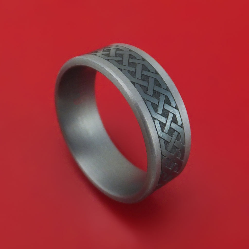 Tantalum and Black Titanium Celtic Custom Made Band