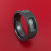Black Zirconium Ring with Milled-Out Sections Showing Gibeon Meteorite Inlay Custom Made Band