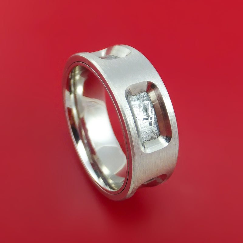 Cobalt Chrome Ring with Milled-Out Sections Showing Gibeon Meteorite Inlay Custom Made Band