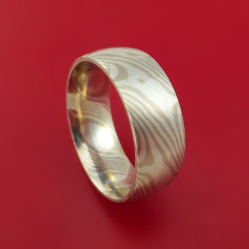 14k White Gold and Silver Mokume Gane Ring Custom Made Band