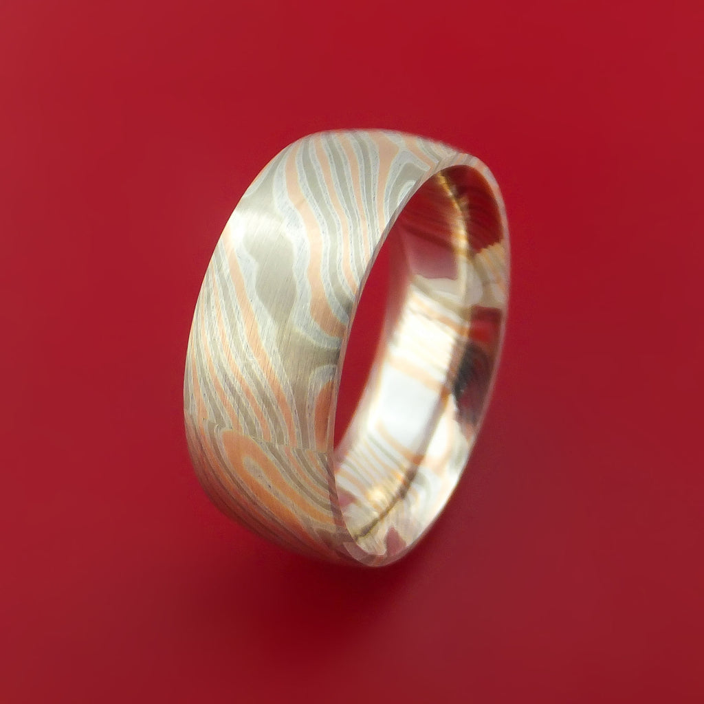 White Gold, Silver and Rose Gold Mokume Ring Custom Made Band