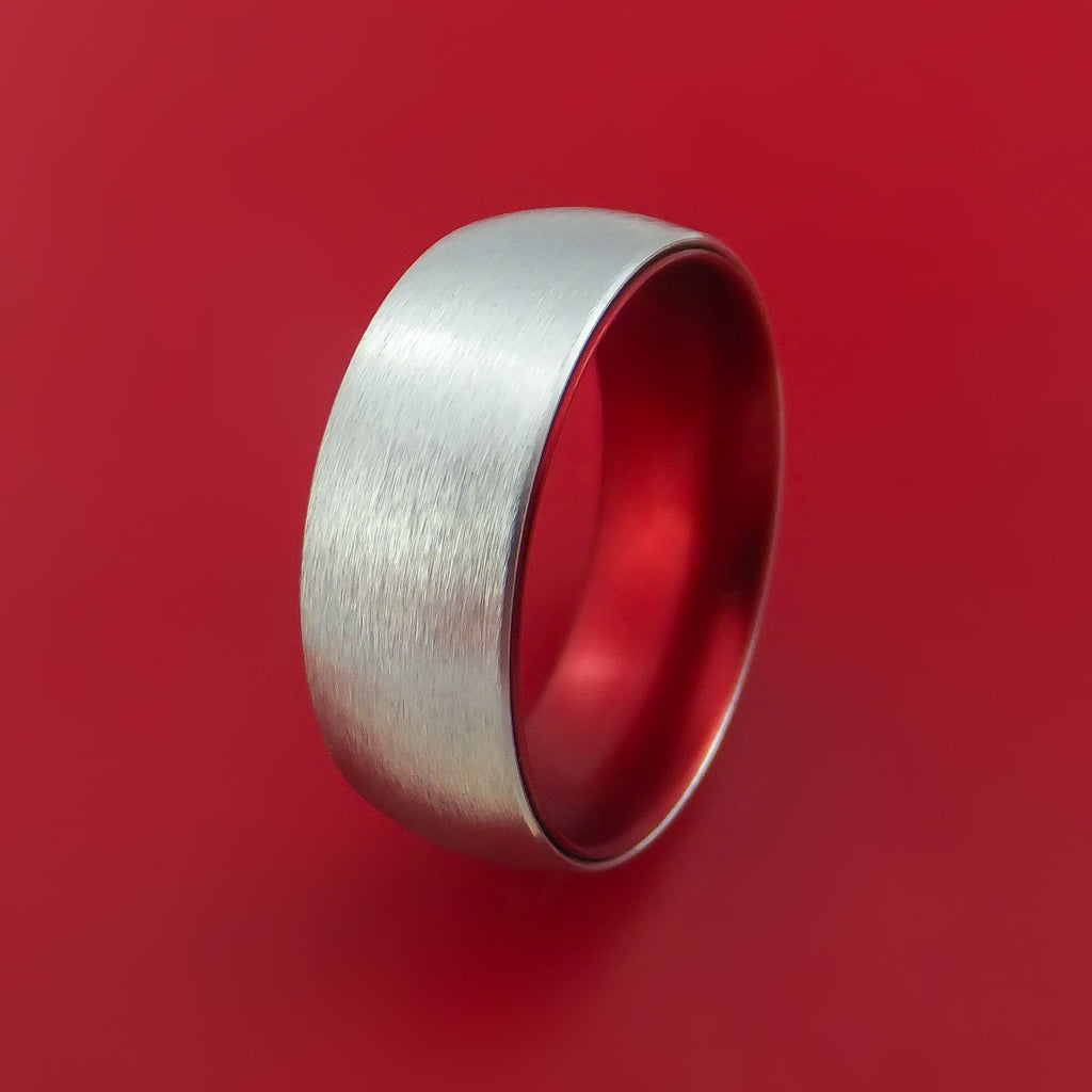 Cobalt Chrome with Red Anodized Sleeve Custom Made Band Choose Your Color