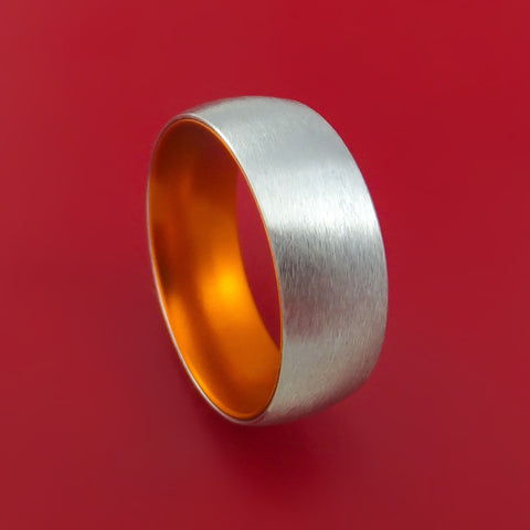 Cobalt Chrome with Orange Anodized Sleeve Custom Made Band Choose Your Color
