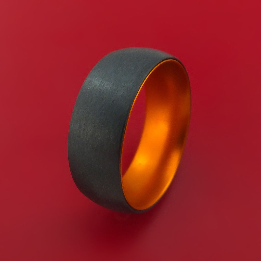 Black Zirconium with Orange Anodized Sleeve Custom Made Band Choose Your Color