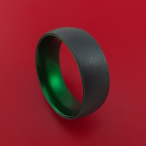 Black Zirconium with Green Anodized Sleeve Custom Made Band Choose Your Color