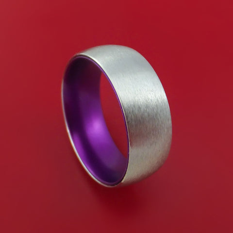 Cobalt Chrome with Purple Anodized Sleeve Custom Made Band Choose Your Color