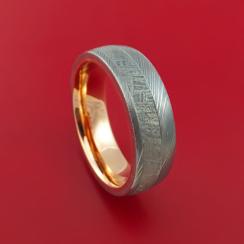 Damascus Steel Ring with Gibeon Meteorite Inlay and Interior 14k Rose Gold Sleeve Custom Made Band