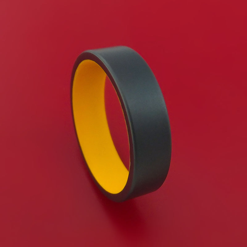 Black Zirconium Ring with Interior Cerakote Sleeve Custom Made Band