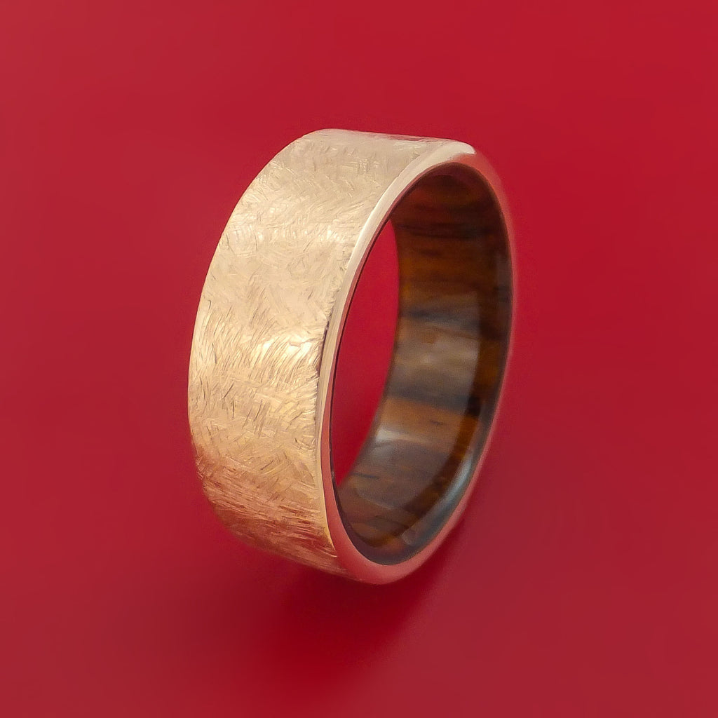 14K Rose Gold Band with Distressed Finish and Koa Wood Sleeve Custom Made