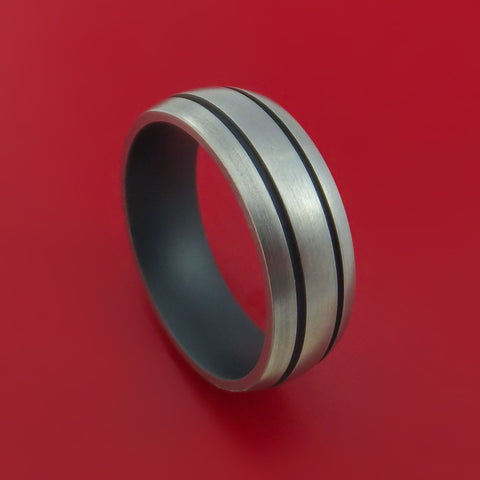 Titanium Ring with Sniper Grey Cerakote Grooves and Sleeve Custom Made Band