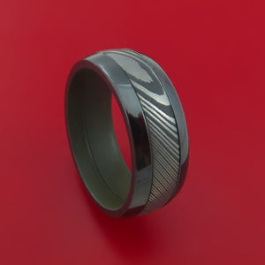 Black Zirconium Ring with Damascus Steel Inlay and Interior Cerakote Sleeve Custom Made Band