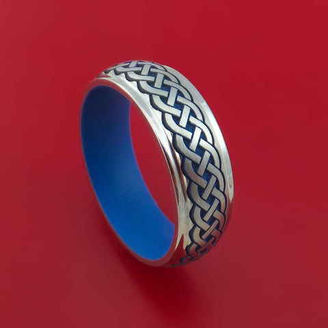 Cobalt Chrome Celtic Band Irish Knot Ring Carved Pattern Design with Ridgeway Blue Cerakote Custom Made