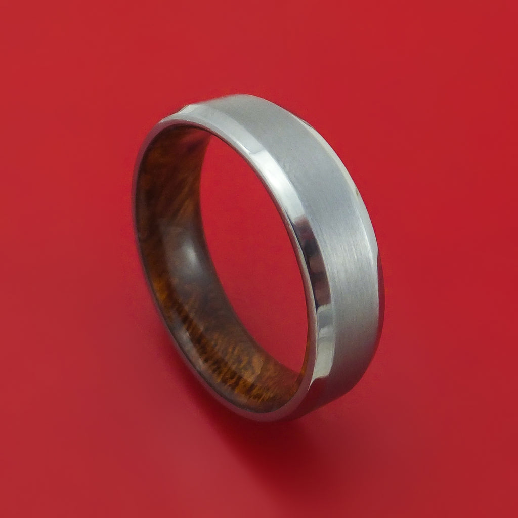 Tantalum Ring with Wood Sleeve Custom Made Band