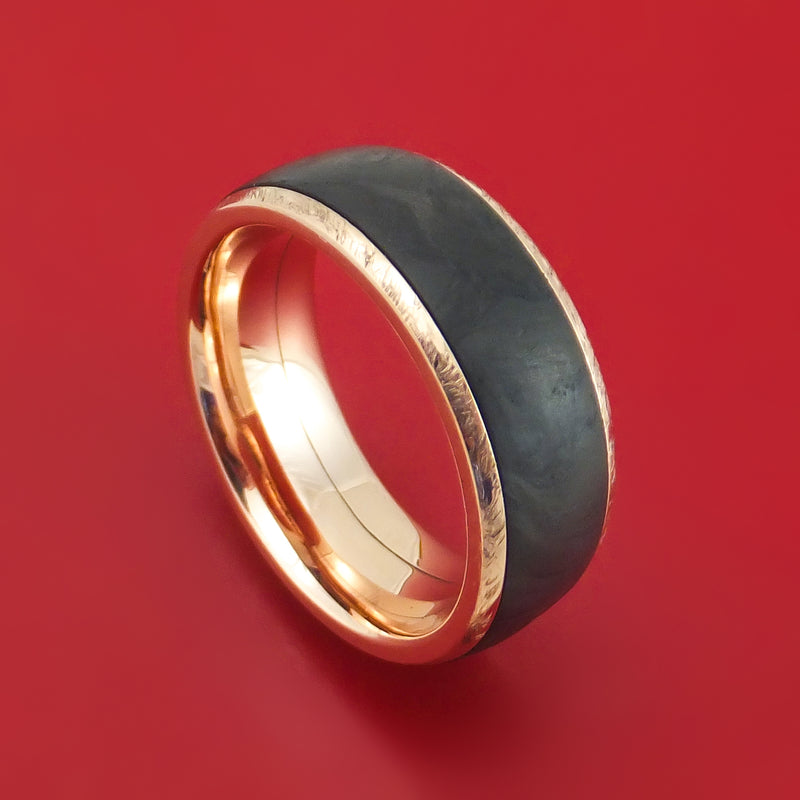 14K Gold and Forged Carbon Fiber Ring Custom Made Band
