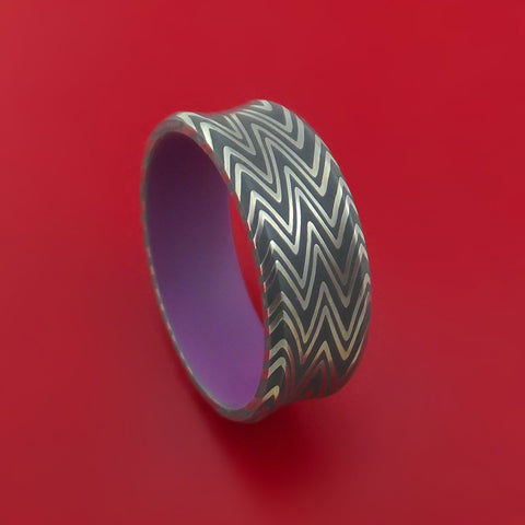 Damascus Steel Zebra Pattern and Wild Purple Cerakote Ring Custom Made Band