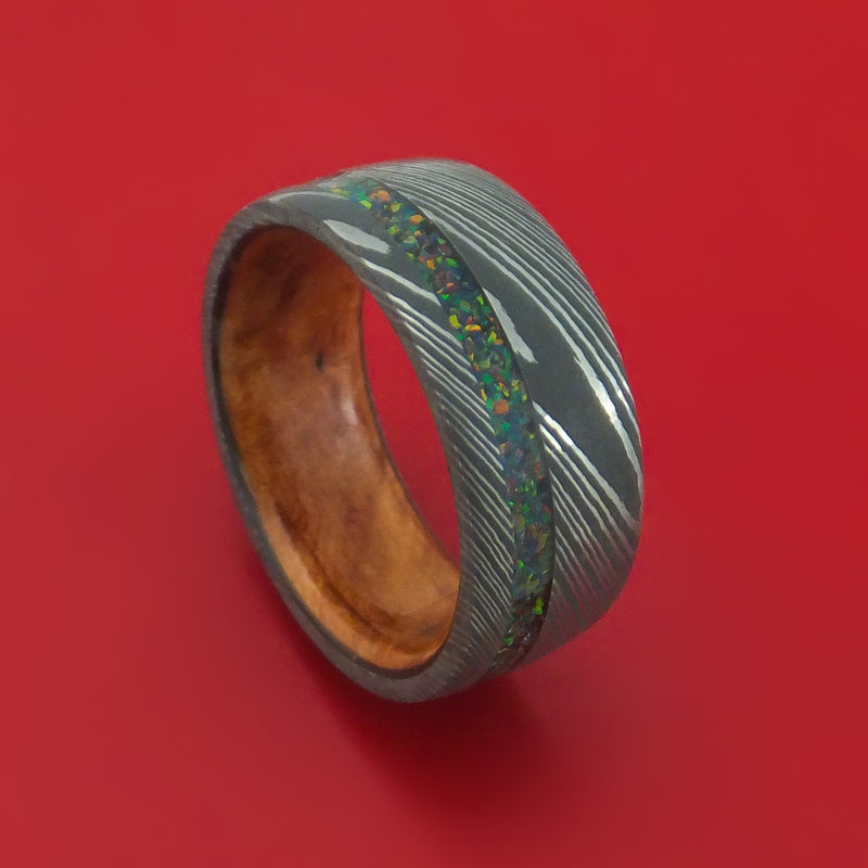 Damascus Steel Ring with Opal Inlay and Wood Sleeve Custom Band