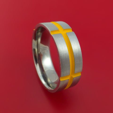 Cobalt Chrome Ring with Dewalt Yellow Cerakote Grooves Custom Made Band