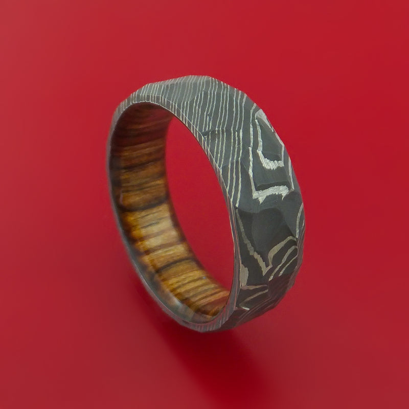 Hammered Damascus Steel Ring with Interior Hardwood Sleeve Custom Made Band