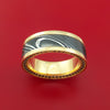 14K Yellow Gold and Kuro Damascus Steel Eternity Black Diamond Ring Custom Made Band
