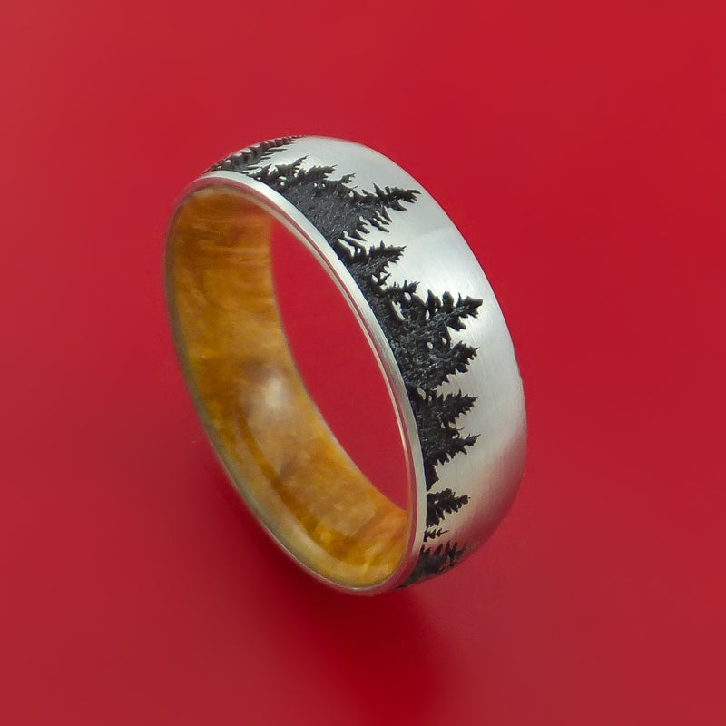 Titanium Ring with Laser-Etched Pine Tree Design Inlay and Interior Hardwood Sleeve Custom Made Band